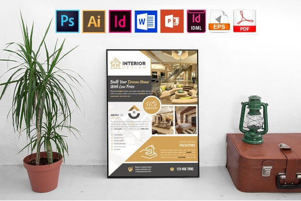 sample interior design flyer template with discount