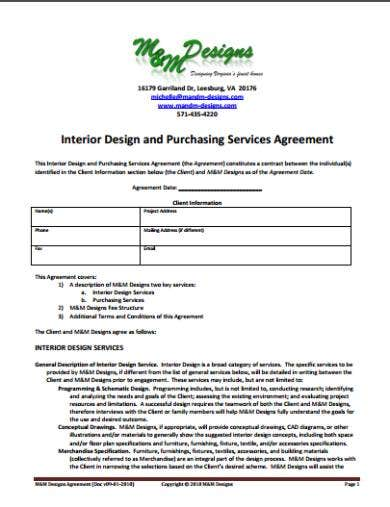 10+ Interior Designer Contract Templates , Sample, Example