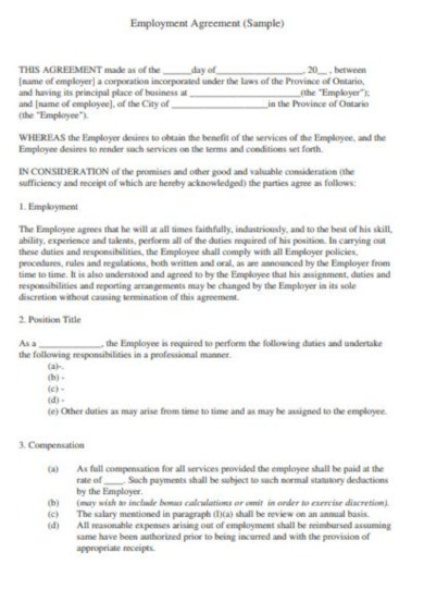 sample job contract template