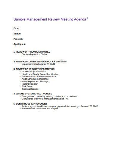 sample management meeting agenda example
