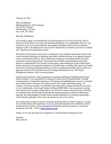 sample marketing cover letter example