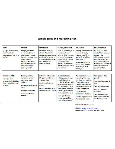 sample marketing and sales template