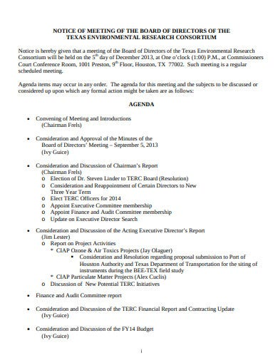 sample notice of meeting