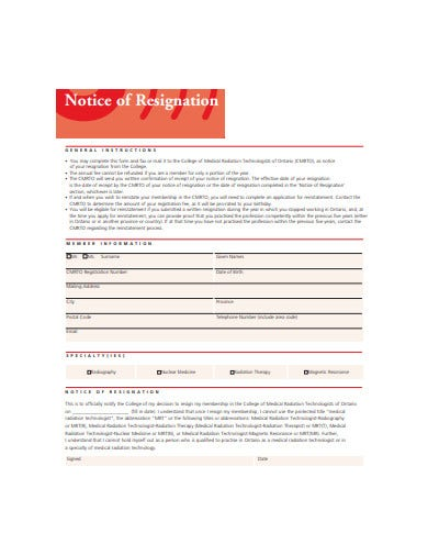 sample notice of resignation