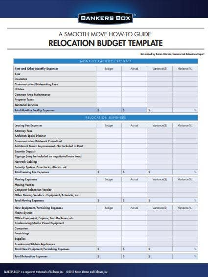 sample office relocation budget template