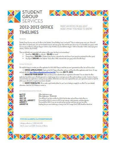sample office timeline example