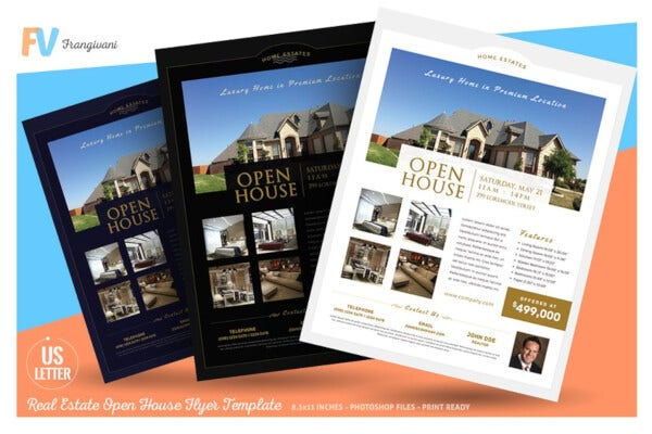 sample open house property real estate flyer template