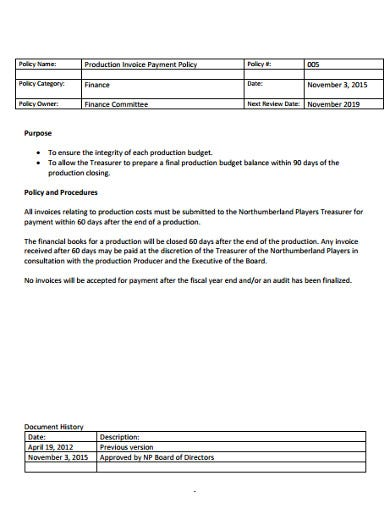 sample production invoice template