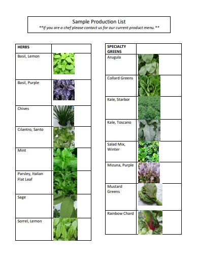 sample production list template