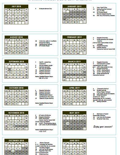 sample project calendar example