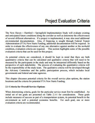 sample project evaluation template