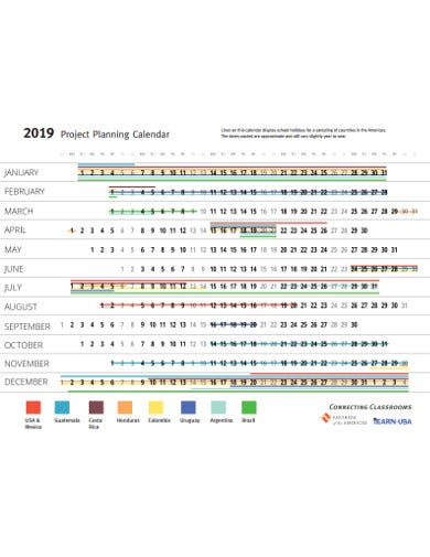 sample project planning calendar template