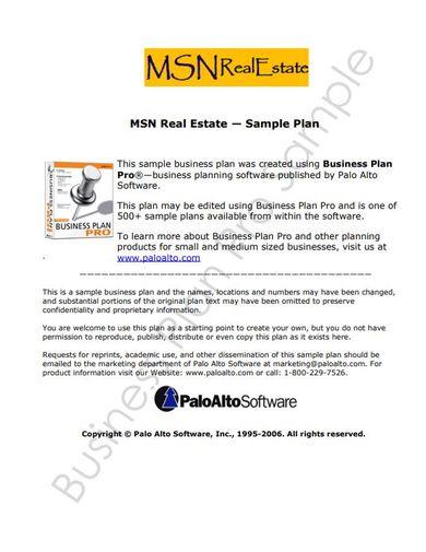 sample real estate business proposal