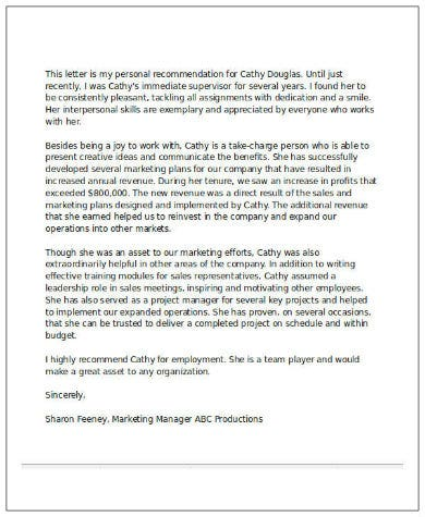 sample recommendation letter for job from employer