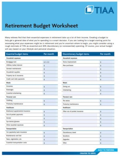 sample retirement budget template