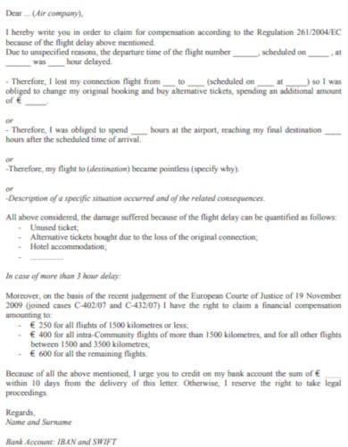 sample travel complaint letter