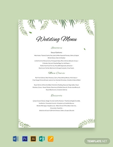 sample wedding menu template menu
