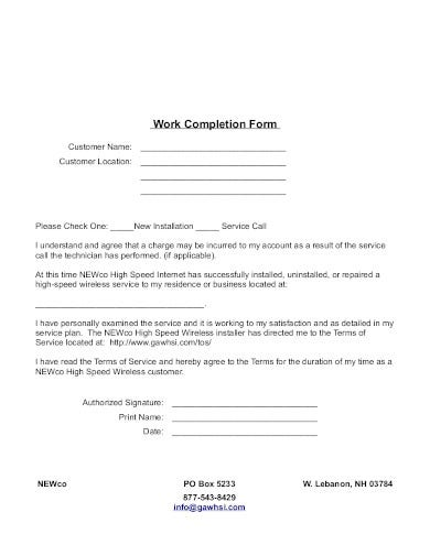 sample work completion form in pdf