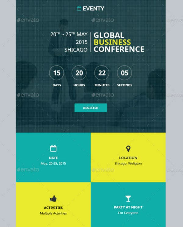 sampleevent email template teal yellow