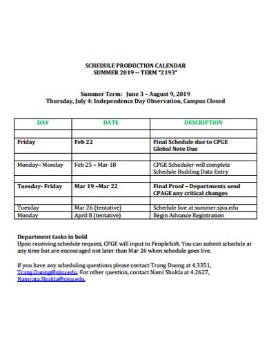 schedule production calendar