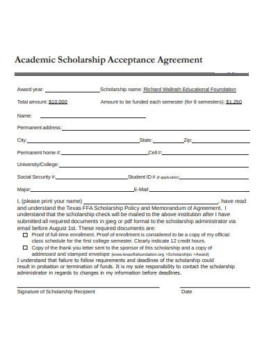 scholarship acceptance agreement template