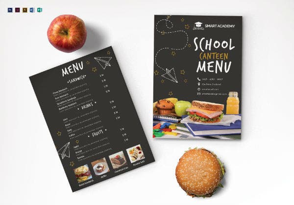 school menu mock up