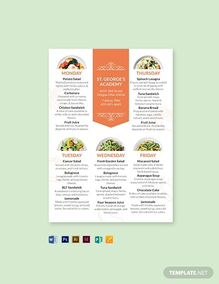 school table tent menu template