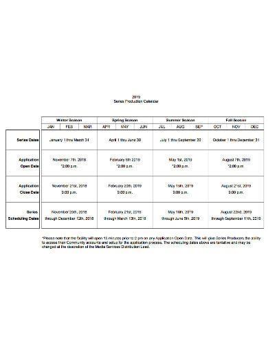 seasonal production calendar example