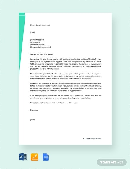 self promotion recommendation letter
