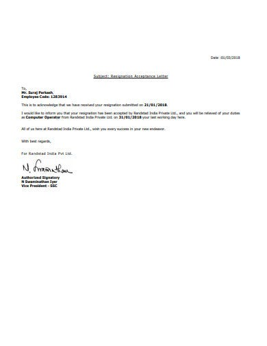 simple acceptance of resignation letter