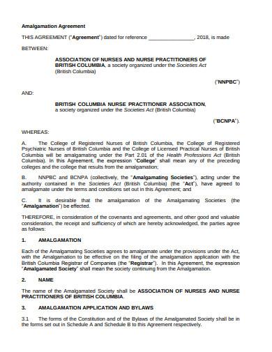 simple amalgamation agreement