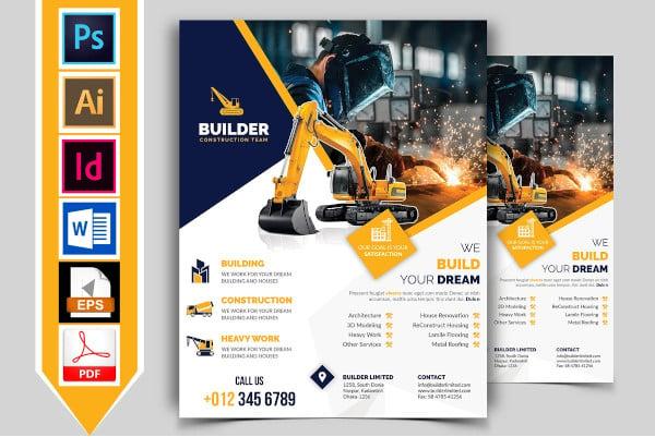 simple builder construction team flyer template