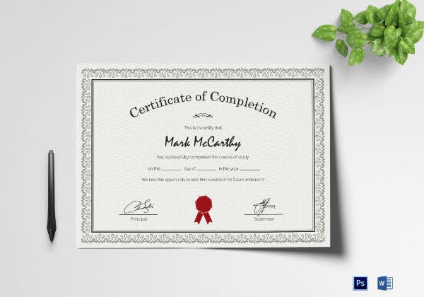 simple certificate of completion mockup