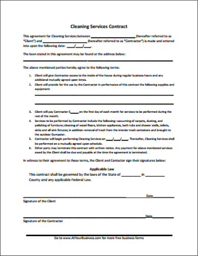 simple cleaning services contract template