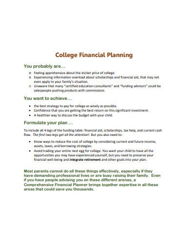 simple college financial plan template