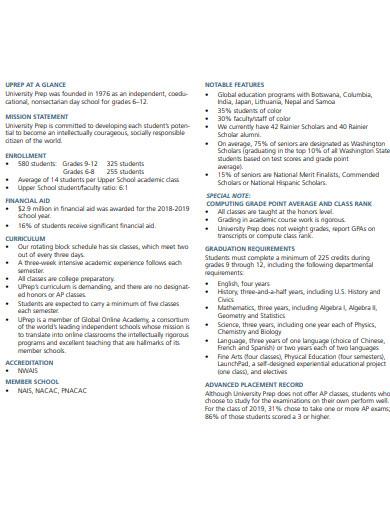 simple college profile format template