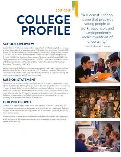 simple college profile template