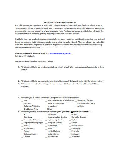 simple college questionnaire format