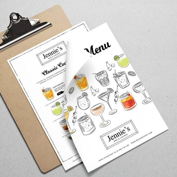 simple colorful cocktail menu template