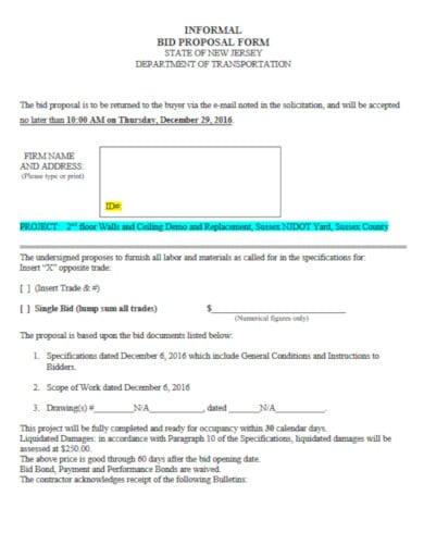 simple construction bid proposal template
