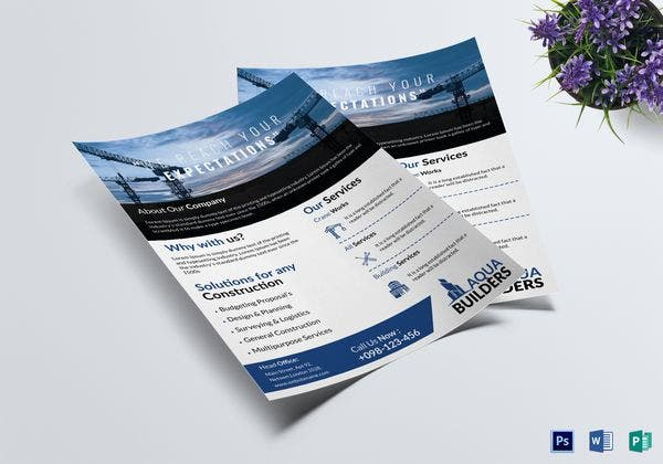 simple construction company flyer template