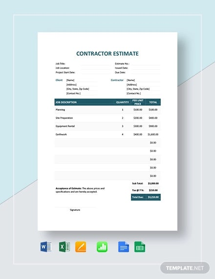 7+ Contractor Estimate Templates - PDF, DOC | Free & Premium Templates