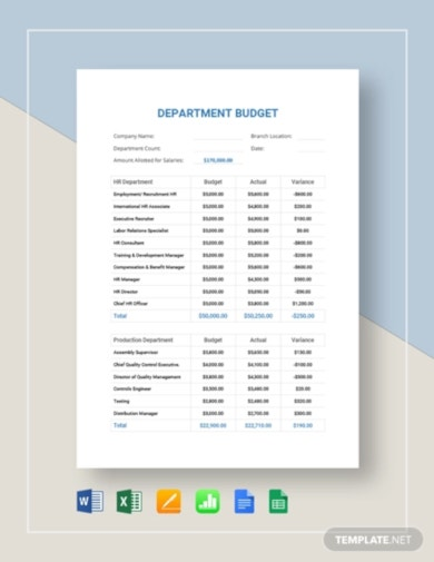 simple department budget template
