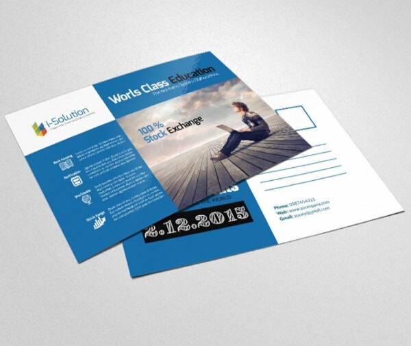 simple financial services postcard template