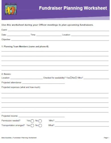 simple fundraiser worksheet template