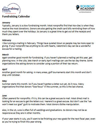 simple fundraising calendar