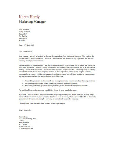 simple marketing cover letter template