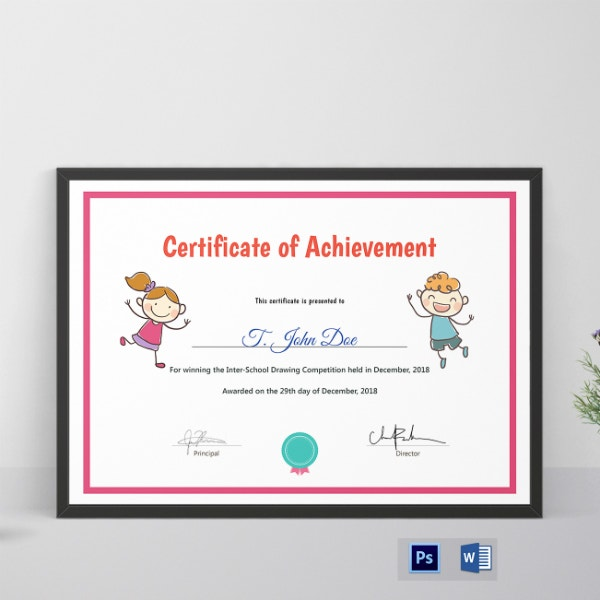 simple preschool achievement certificate example