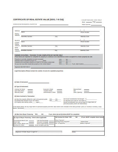 simple real estate certificate template