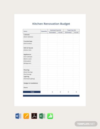 simple renovation budget template